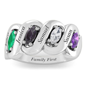Precious Family Marquise Row Ring