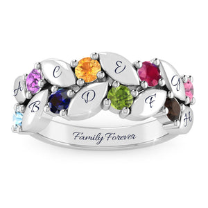 Exquisite x8 Birthstone Leaf Family Initial Ring