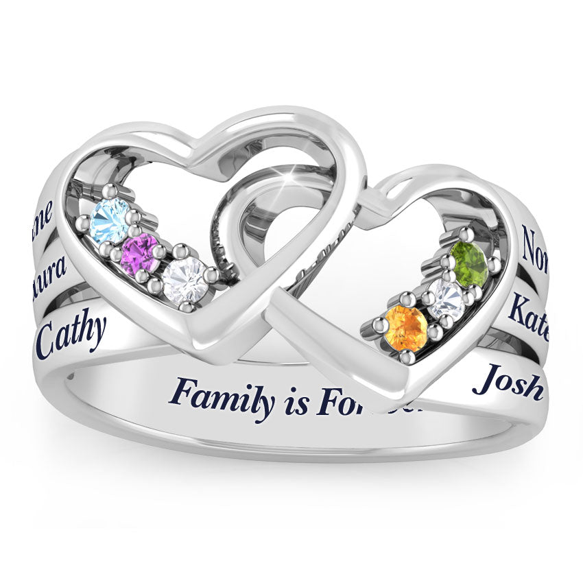 Double Heart Intertwined 6 Birthstone Family Ring