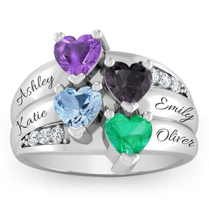 Four Hearts Ring with Diamond Accents