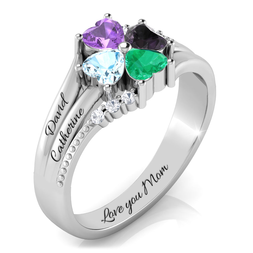 Lucky Clover Ring with Diamond Accents