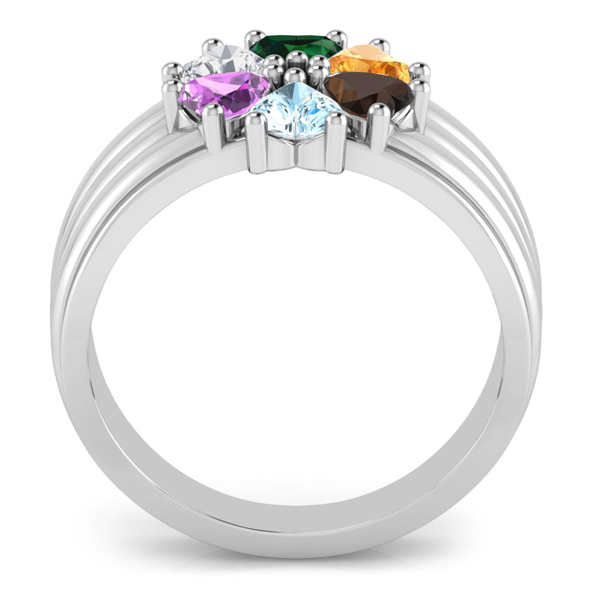 Precious 6 Clover Heart Birthstone Ring