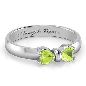 Lush Summer Green Natural peridot August Birthstone Bowknot Ring