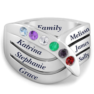 Array of Gemstones Family Ring (upto x6 Birthstones)