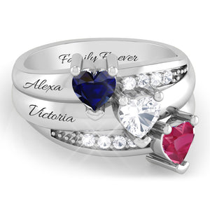 Triple Family Heart Row Ring with Diamond Accents