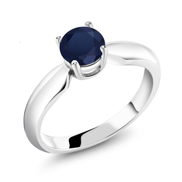 1.00 Ct Round Natural Blue Sapphire September Birthstone Ring