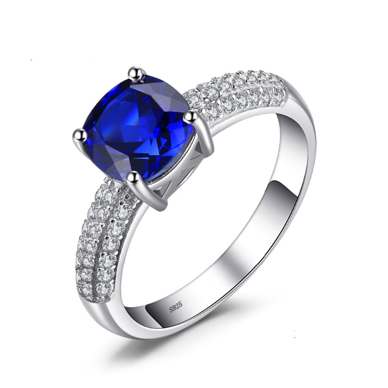 2.6ct Natural Sapphire September Birthstone Ring + Diamond Accents