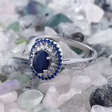 Exquisite 1.60 Ct Oval Blue Natural Sapphire September Birthstone Ring
