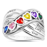 Multi-Wave Family Heart Ring