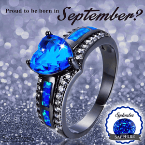 September Birthstone  - Blue Fire Opal Ring