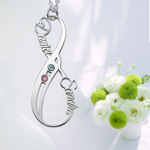 Birthstone Infinity Eternity Necklace Double Name