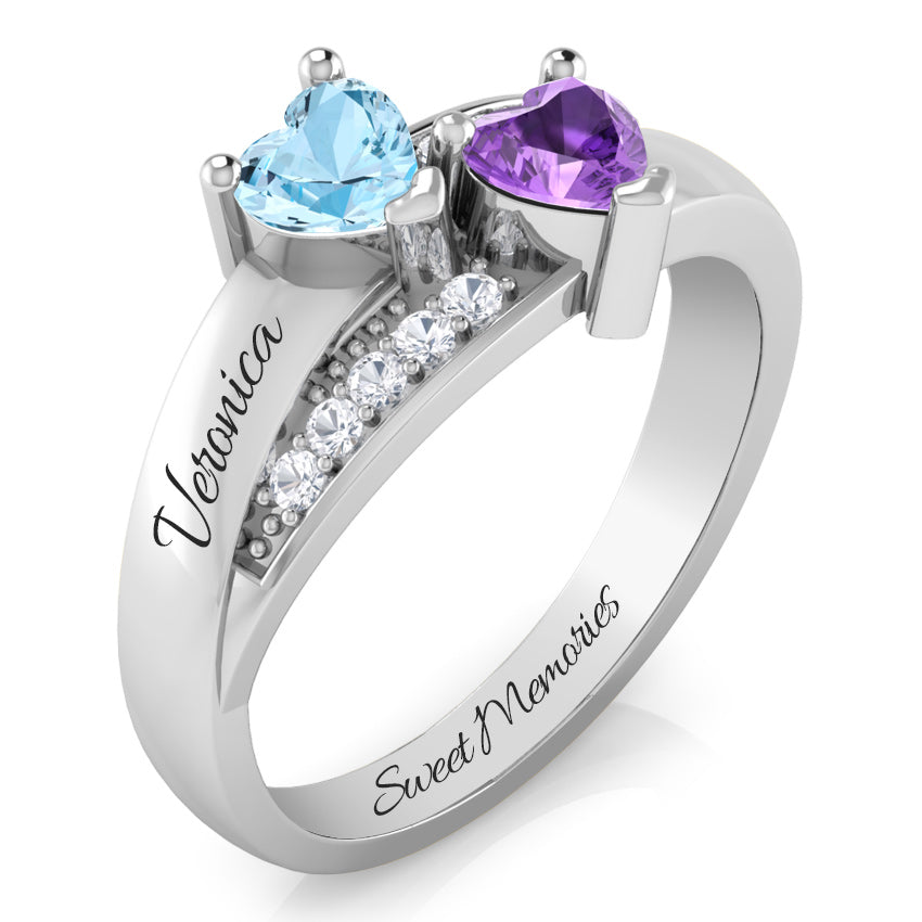 Precious Hearts Personalised Birthstone & Diamond Ring