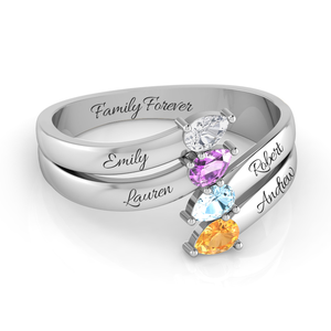 Family of 4 Pear Cut Birthstone Ring + Complimentary Engravings