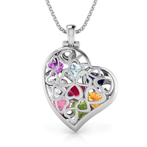 Exquisite Vine Heart Cage Necklace with up to 8 Austrian Gemstones