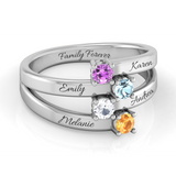Friends & Family Multi-wave 4 Names Birthstone Ring