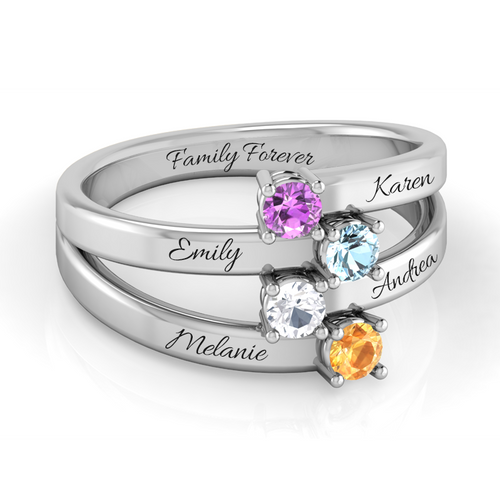 Family Multi-Wave (4 Gemstone Ring)
