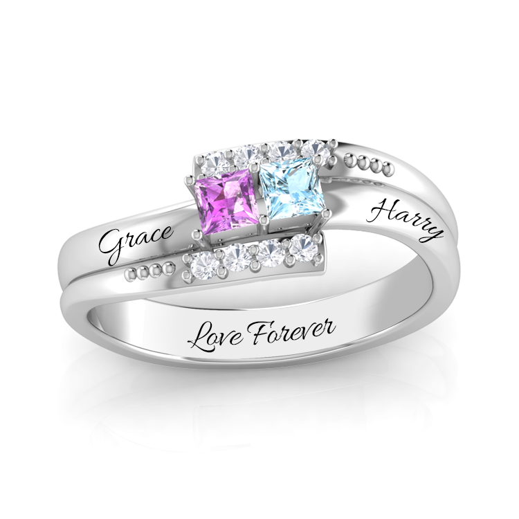 Double Gemstone with Diamond Accent Promise Ring