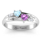 Dual Heart Gemstone Ring + Free Gift Box