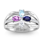 Elegant Pear Cut Birthstone Ring with Diamond Accents