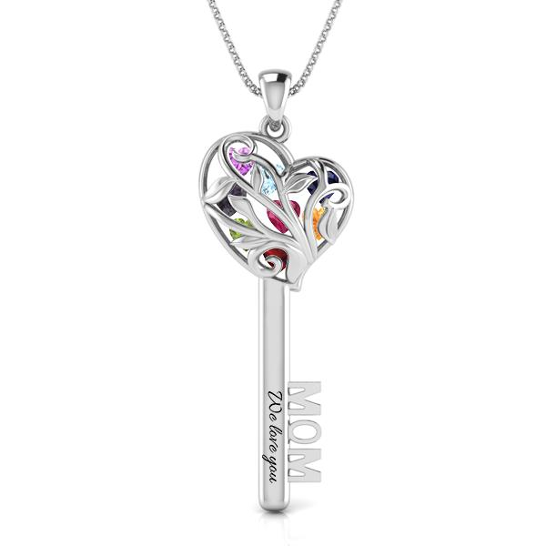 Mom's Favourite Heart Pendant Key Necklace (up to 8 birthstones) Complimentary Engravings