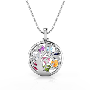 Tree of Life Pendant Necklace (Holds 8 Austrian Gemstones)