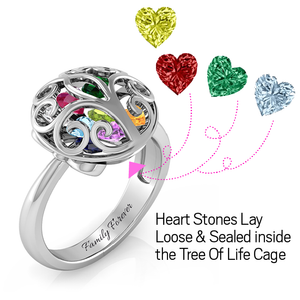 Family Tree Encased Ring ( Up to 10 Heart Birthstones )