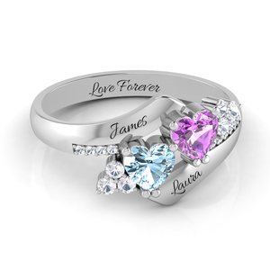 Elegant Double heart Ring + Diamond Accents