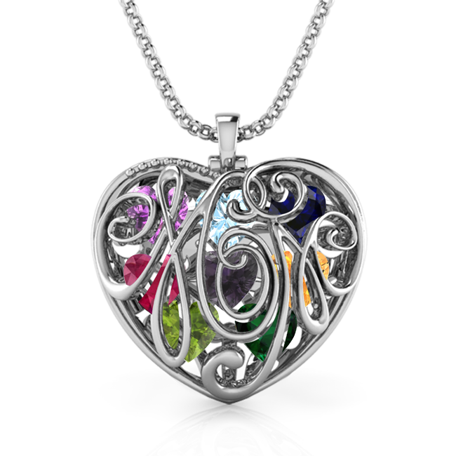 Cursive Mom Encased Necklace (Up to 8 Birthstones)