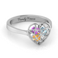 Diamond Heart Cage Ring (Up to 4 Gemstones)