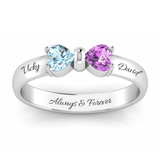 Adorable Bow Heart Birthstone Ring