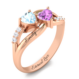 Twin Hearts Ring with Diamond Accents