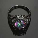 Vintage Black Gold Fire Crystal Topaz Ring