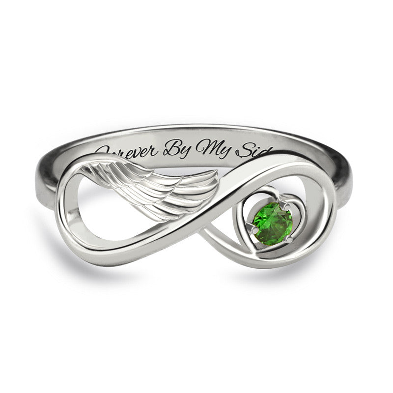 White Gold Guardian Angel Ring  + FREE engraving