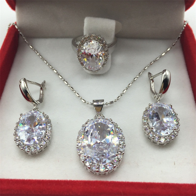 White Topaz Sapphire 925 Sterling Silver Jewelry Set – Madison Audrey a88fc5df5
