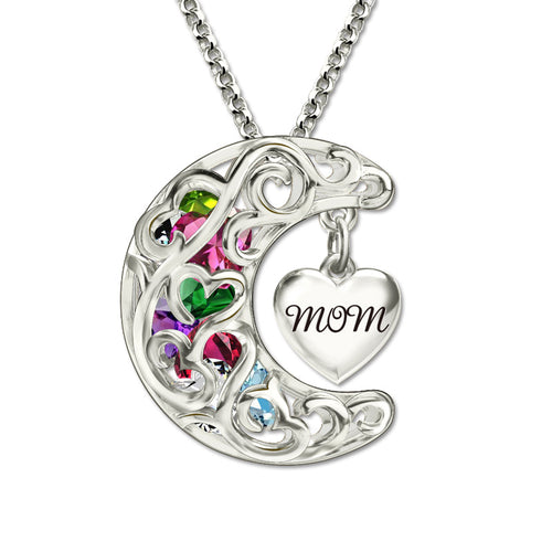 Mom's Heart Moon Caged Pendant (Up to 8 Birthstones)