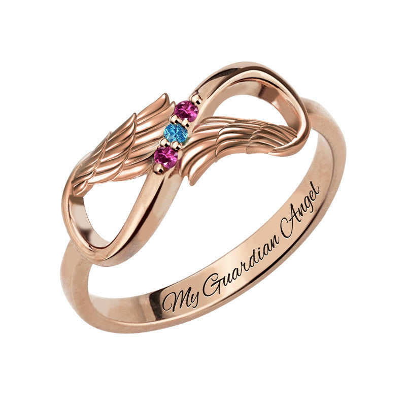 Angel Wings Infinity Birthstone Ring + Free Engravings