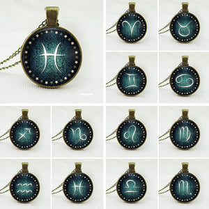 Vintage Glass Zodiac Necklaces