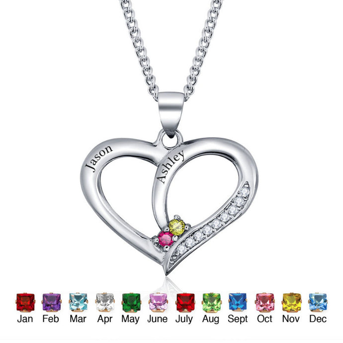 double belongs my silver dual get aliexpress on free com w love birthstone necklace and buy jewelry couples heart wholesale s birthstones name yours shipping valentine