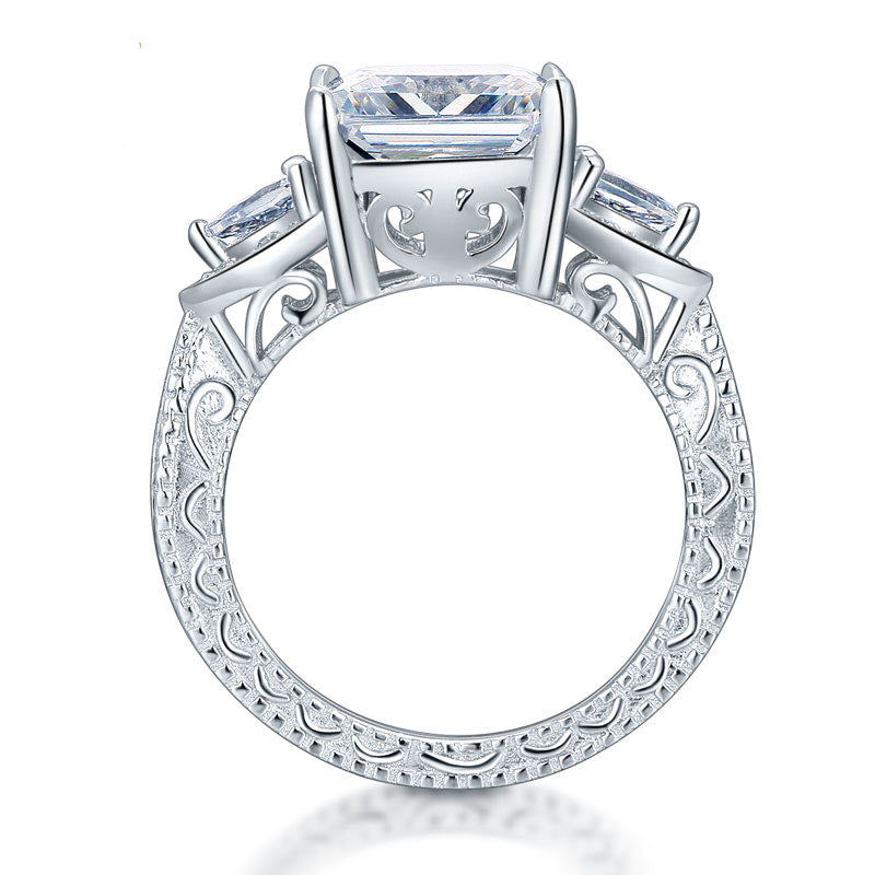 Audrey's Princess Cut Vintage Sterling Silver Ring (April Diamond)