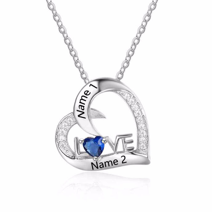 Personalized Diamond Heart Birthstone Necklace