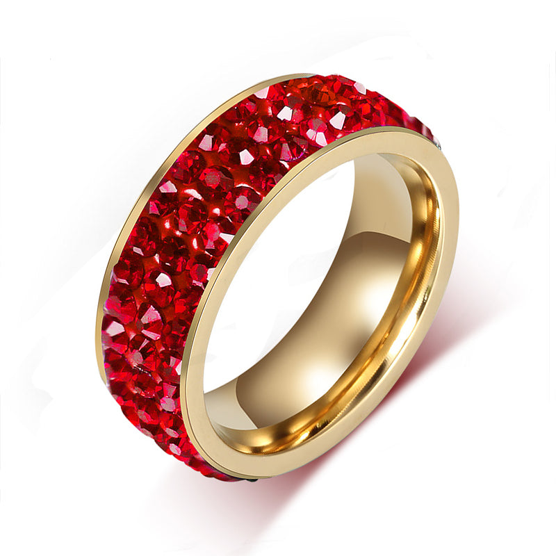 Full Paved Red Ruby Birthstone Ring (July)