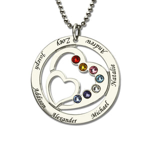 The Perfect Family Heart in Circle Gemstone Necklace