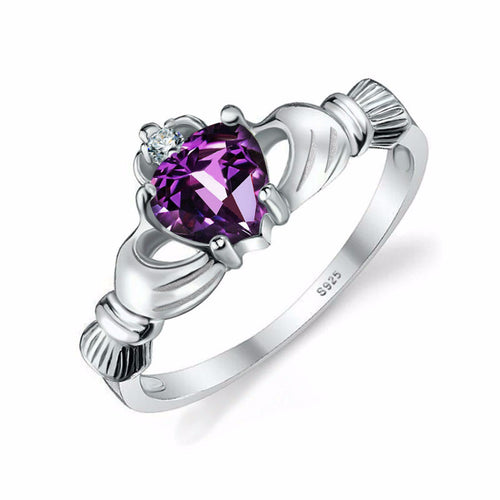 Amethyst Irish Claddagh Ring