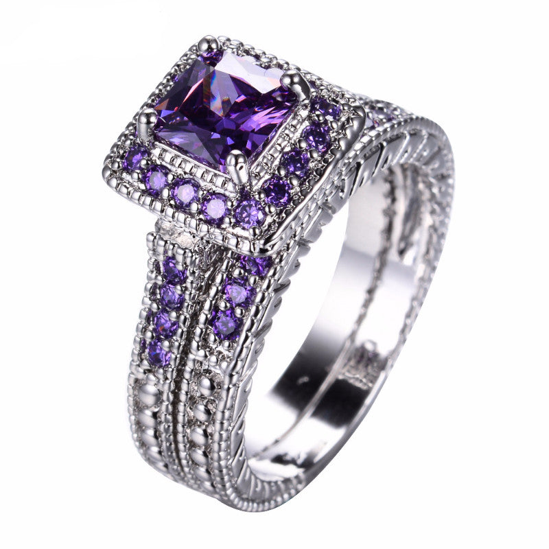 Elegant Amethyst Ring Set  White Gold Filled Bridal Sets