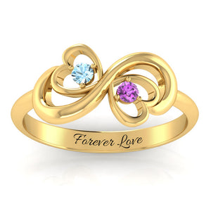 Infinity Heart Duo Birthstone Ring