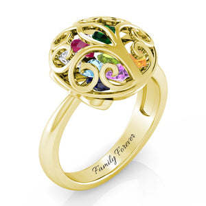 Family Tree Encased Ring ( Up to 12 Heart Birthstones )