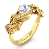 Exquisite Organic Leaf Ring with Diamond Accents
