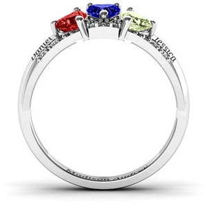 Trio Hearts with Accents Birthstone Ring