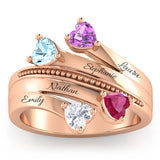 The 4 Hearts Family Gemstone Ring