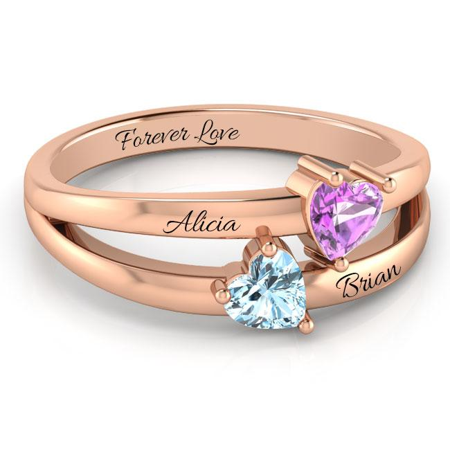The Duo Hearts  Ring + Free Gift Box
